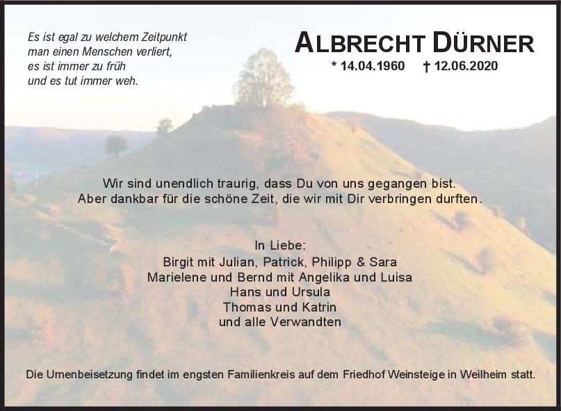 Trauer Albrecht Dürner <br><p style=