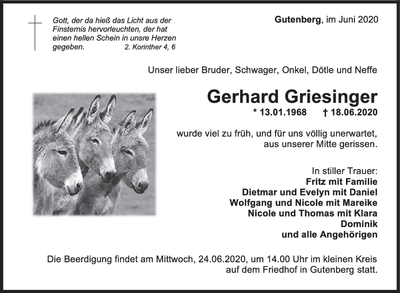 Trauer Gerhard Griesinger <br><p style=