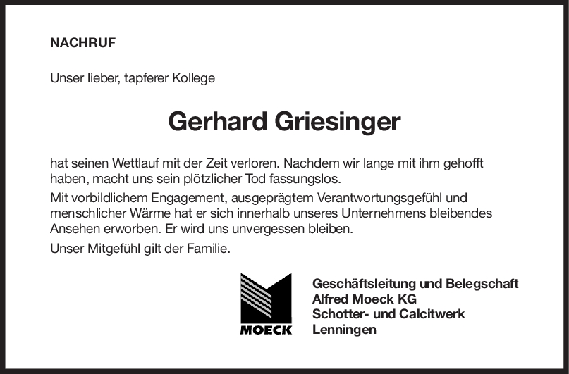 "Nachruf Gerhard Griesinger <br><p style=""font-size: 10px; text-align: center;"">23/06/2020</p>"