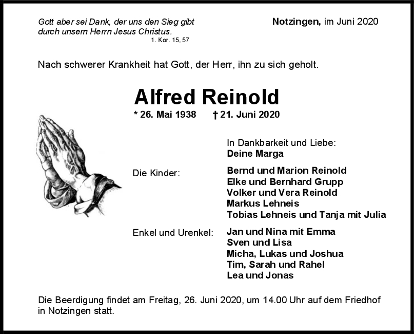 """Trauer Reinold Alfred <br><p style=""""font-size: 10px; text-align: center;"""">23/06/2020</p>"""