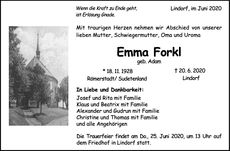 """Trauer Emma Forkl <br><p style=""""font-size: 10px; text-align: center;"""">24/06/2020</p>"""