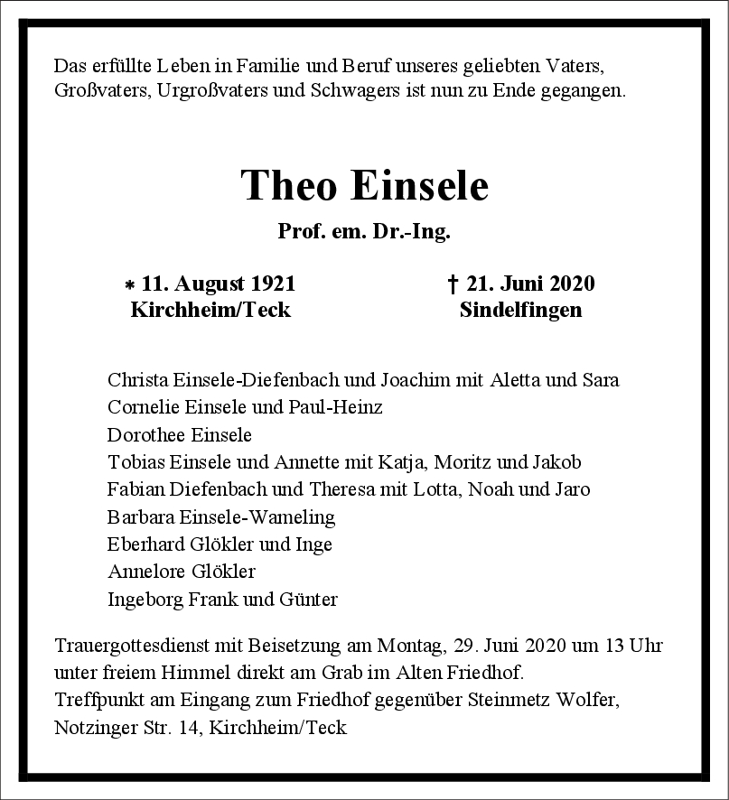 Trauer Theo Einsele <br><p style=