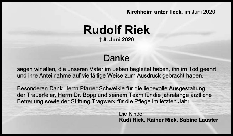Danksagung Rudolf Riek <br><p style=