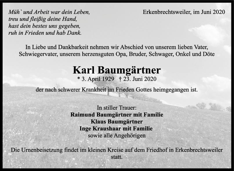 Trauer Karl Baumgärtner <br><p style=