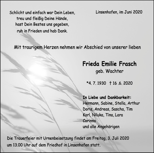 "Trauer Frieda Emilie Frasch <br><p style=""font-size: 10px; text-align: center;"">29/06/2020</p>"