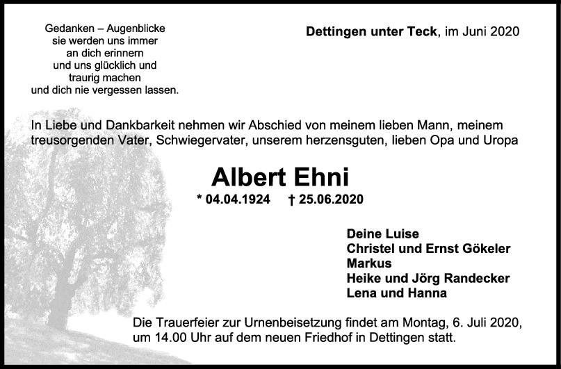 Trauer Albert Ehni <br><p style=