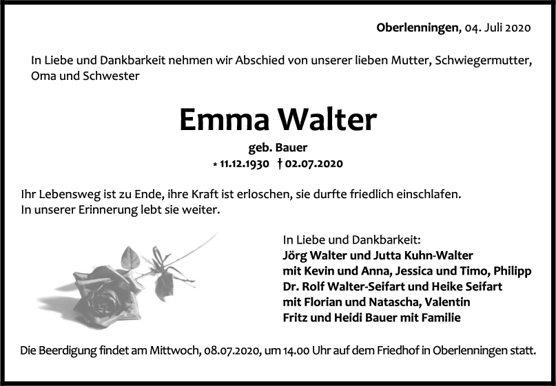 Trauer Emma Walter <br><p style=