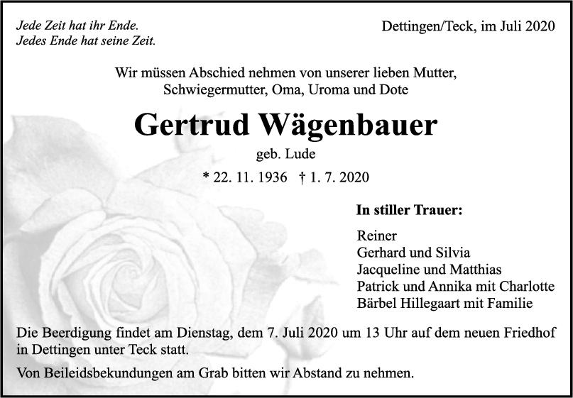 Trauer Gertrud Wägenbauer <br><p style=