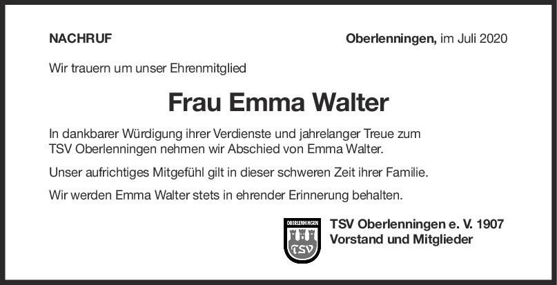 Nachruf Emma Walter <br><p style=