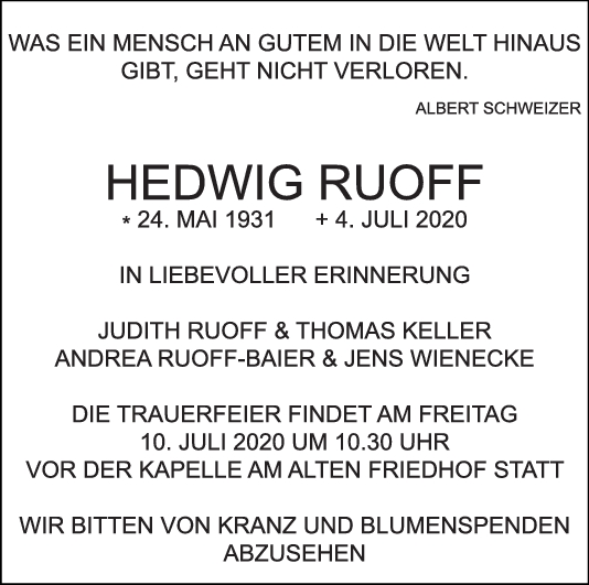 Trauer Hedwig Rouff <br><p style=