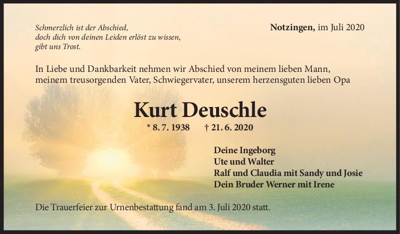 Trauer Kurt Deuschle <br><p style=