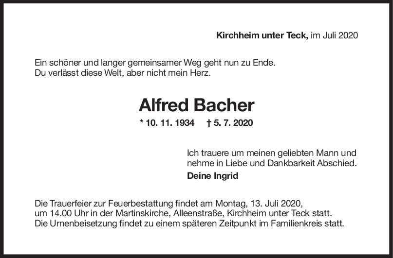 Trauer Alfred Bacher <br><p style=