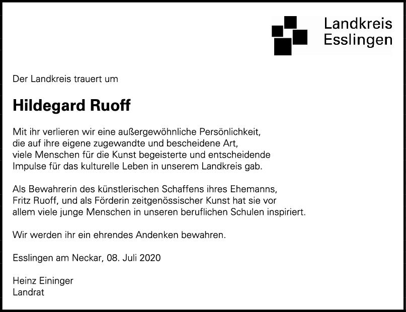 Nachruf Hildegard Ruoff <br><p style=