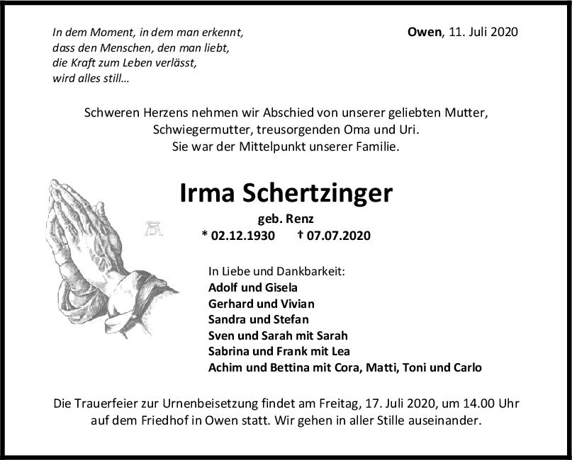 Trauer Irma Schertzinger <br><p style=