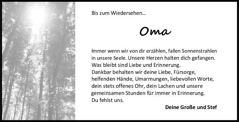 Nachruf Irma Schertzinger <br><p style=