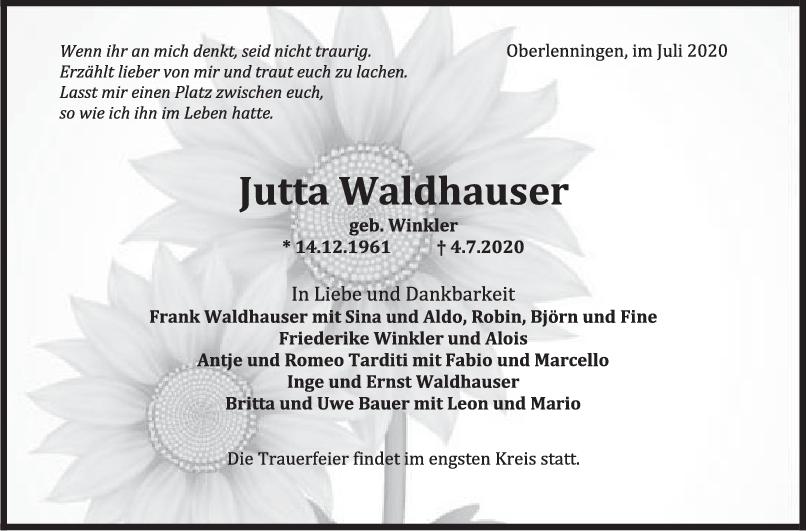 Trauer Jutta Waldhauser <br><p style=