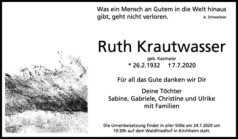 Trauer Ruth Krautwasser <br><p style=