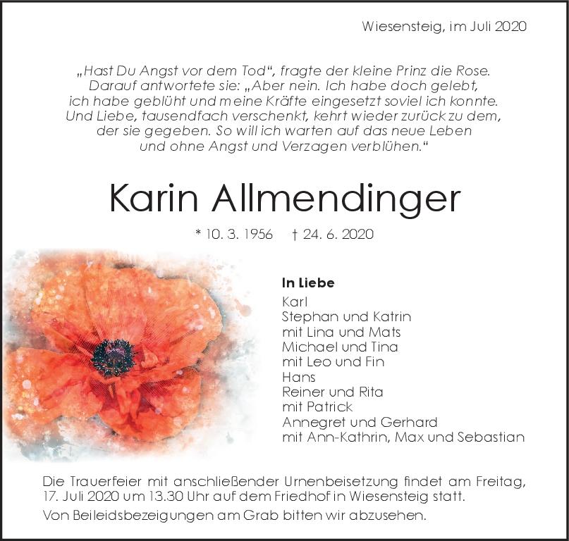 Trauer Karin Allmendinger <br><p style=