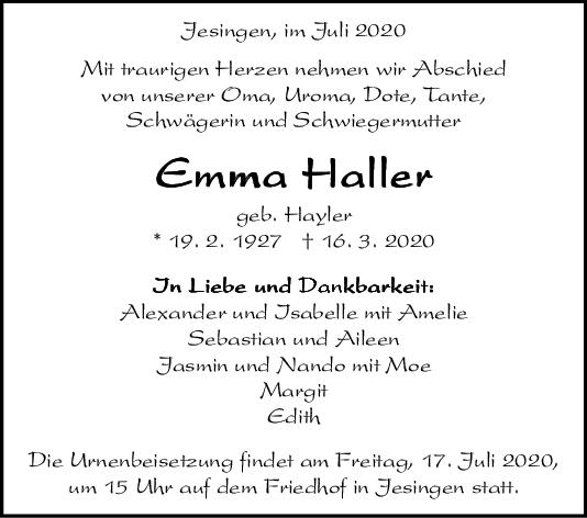 Trauer Emma Haller <br><p style=