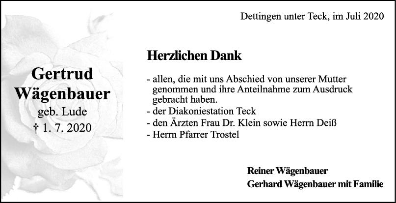 Danksagung Gertrud Wägenbauer <br><p style=