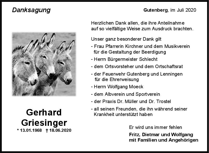 Danksagung Gerhard Griesinger <br><p style=