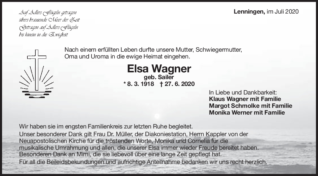 Trauer Elsa Wagner <br><p style=