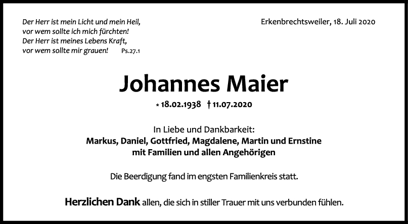 Trauer Johannes Maier <br><p style=