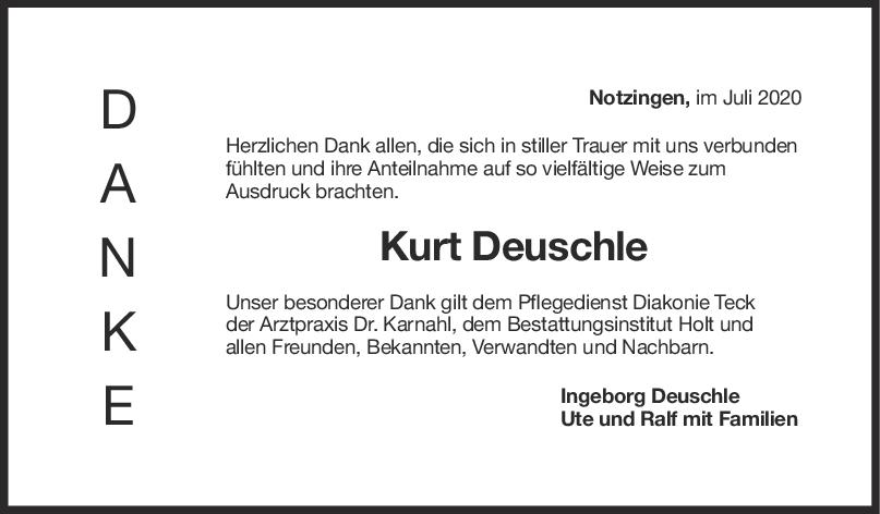 Danksagung Kurt Deuschle <br><p style=