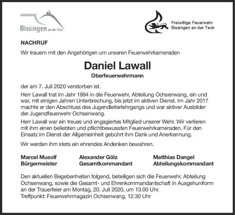Nachruf Daniel Lawall <br><p style=