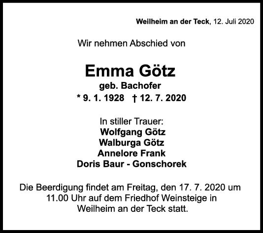 Trauer Emma Götz <br><p style=