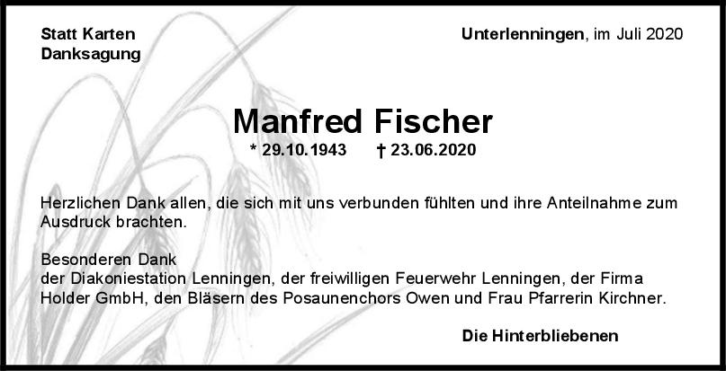 Danksagung Manfred Fischer <br><p style=