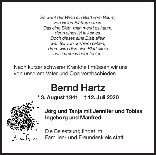 Trauer Bernd Hartz <br><p style=
