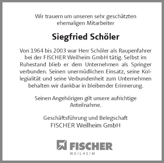 Nachruf Siegfried Schöler <br><p style=