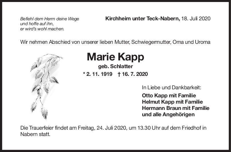 Trauer Marie Kapp <br><p style=