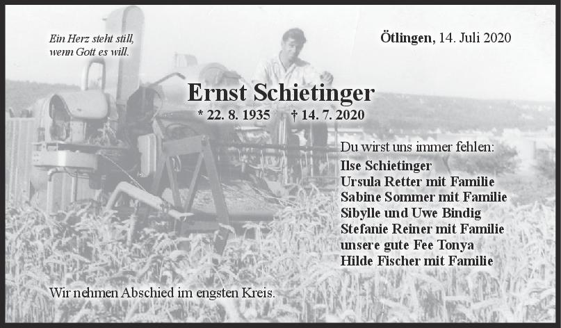 Trauer Ernst Schietinger <br><p style=