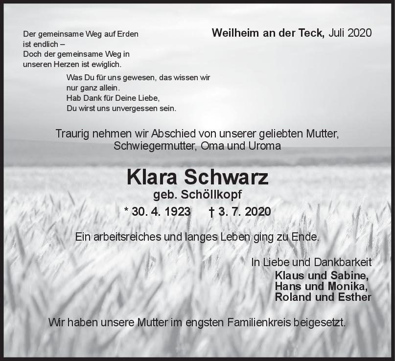 Trauer Klara Schwarz <br><p style=