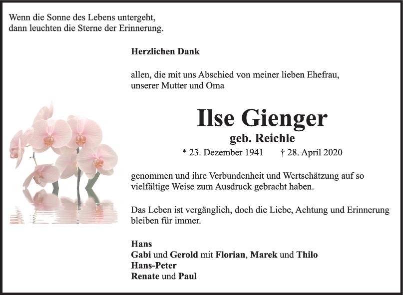 Danksagung Ilse Gienger <br><p style=