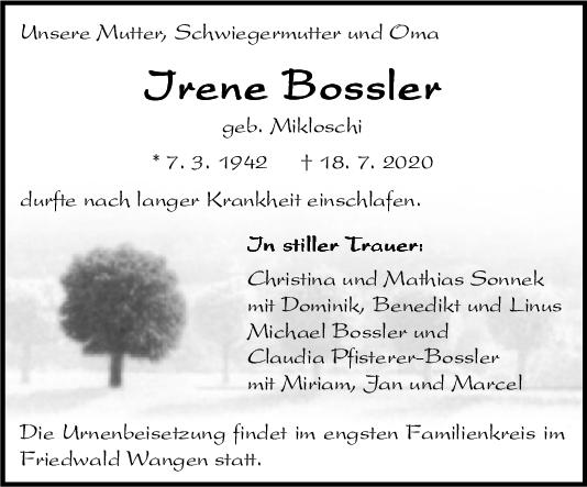 Trauer Irene Bossler <br><p style=