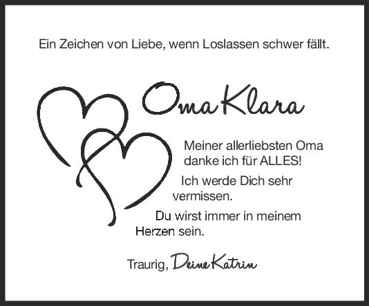 Nachruf Klara Schwarz <br><p style=
