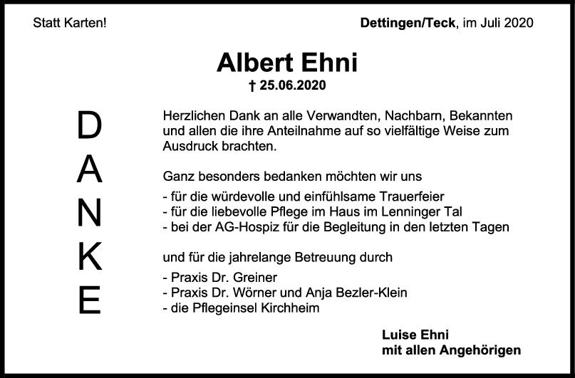 Danksagung Albert Ehni <br><p style=