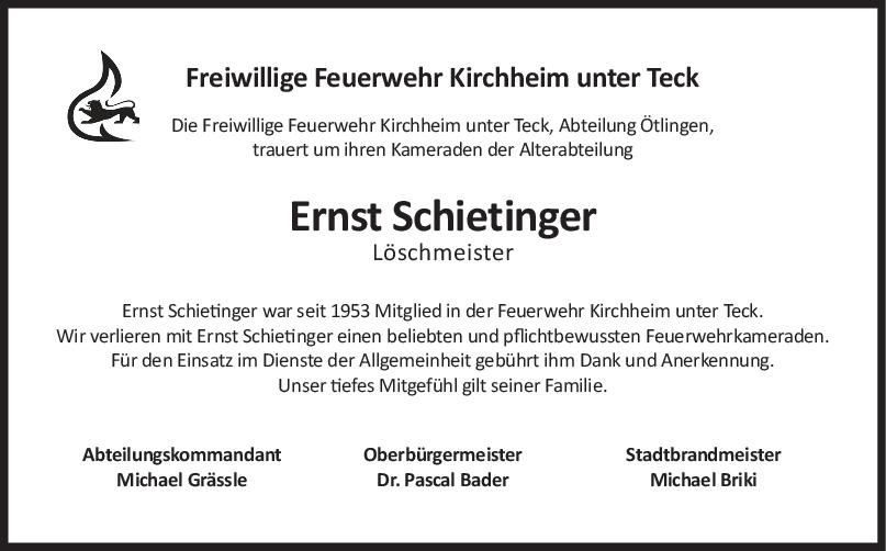 Nachruf Ernst Schietinger <br><p style=