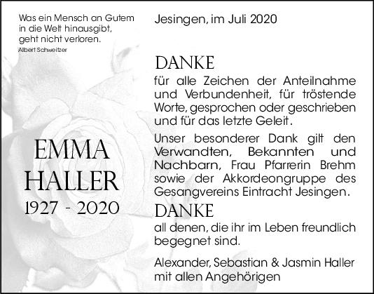Danksagung Emma Haller <br><p style=