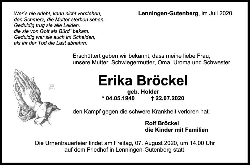 Trauer Erika Bröckel <br><p style=