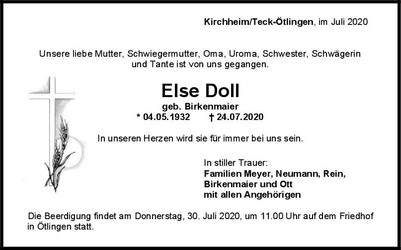 Trauer Else Doll <br><p style=