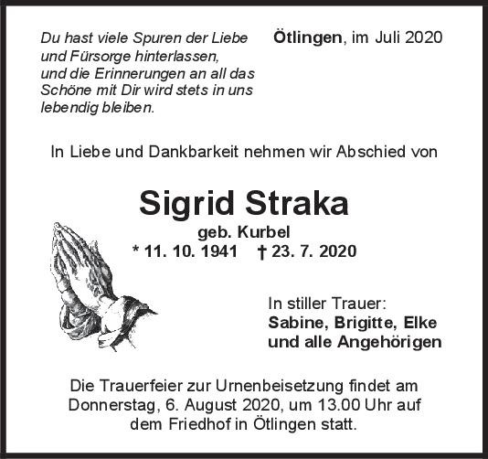 Trauer Sigrid Straka <br><p style=