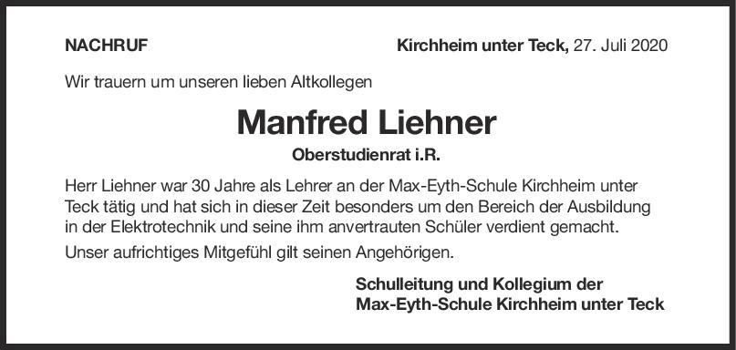 Nachruf Manfred Liehner <br><p style=