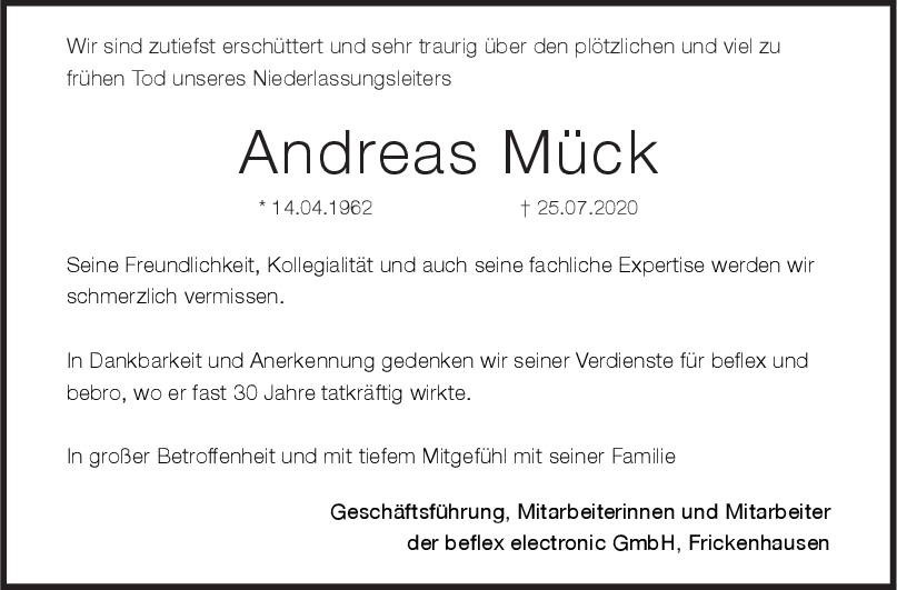 Nachruf Andreas Mück <br><p style=