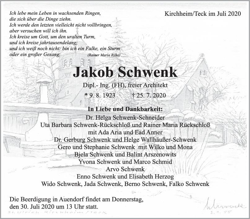 Trauer Jakob Schwenk <br><p style=