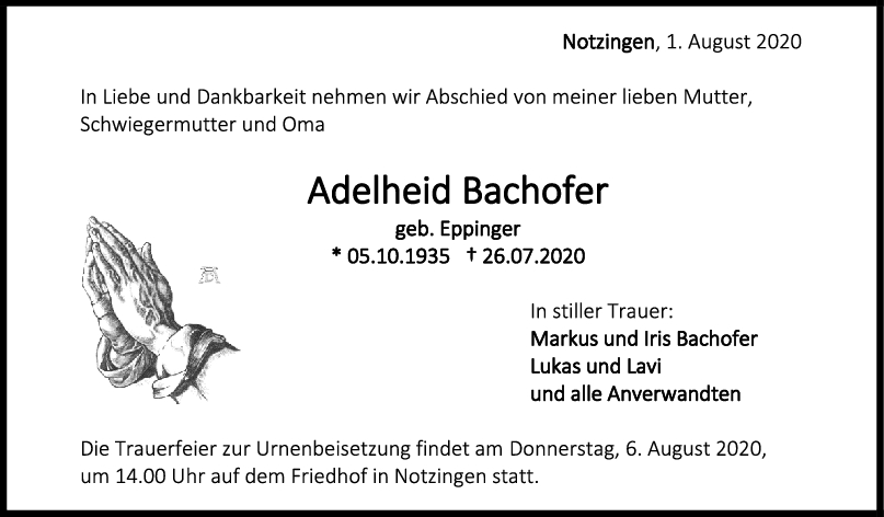 Trauer Adelheid Bachofer <br><p style=