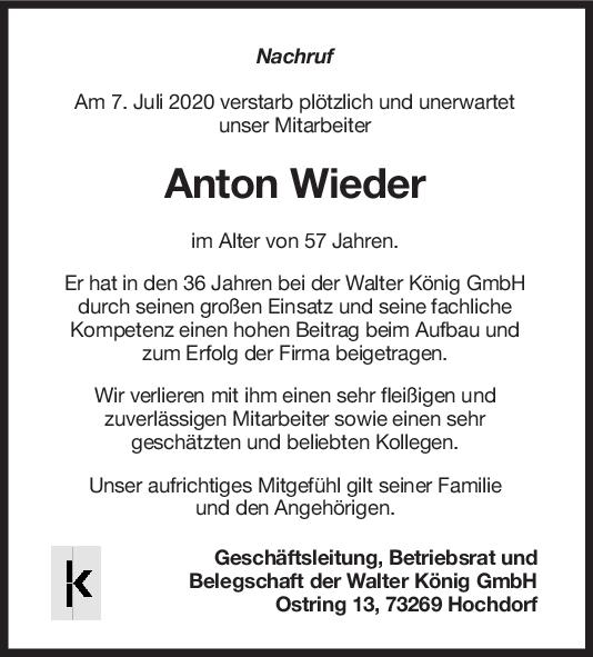 Nachruf Anton Wieder <br><p style=
